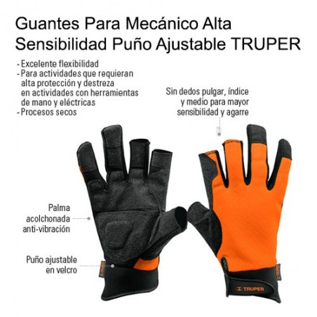 Guantes Para Mecánico Alta Sensibilidad Puño Ajustable TRUPER