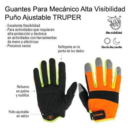 Guantes Para Mecánico Alta Visibilidad Puño Ajustable TRUPER