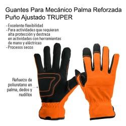 Guantes Para Mecánico Palma Reforzada Puño Ajustado TRUPER