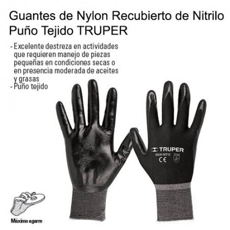 Guantes de Nylon Recubierto de Nitrilo Puño Tejido TRUPER