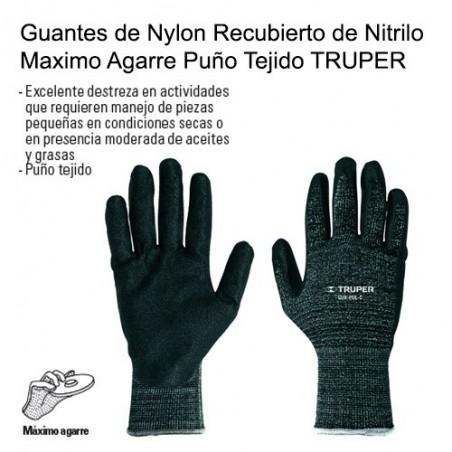 Guantes de Nylon Recubierto de Nitrilo Maximo Agarre Puño Tejido TRUPER