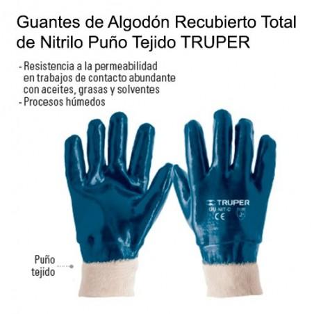 Guantes de Algodón Recubierto Total de Nitrilo Puño Tejido TRUPER