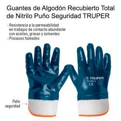 Guantes de Algodón Recubierto Total de Nitrilo Puño Seguridad TRUPER