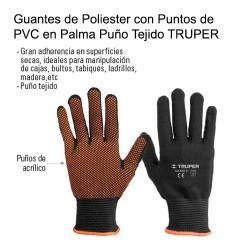 Guantes de Poliester con Puntos de PVC en Palma Puño Tejido TRUPER