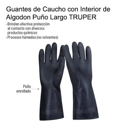 Guantes de Caucho con Interior de Algodon Puño Largo TRUPER