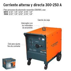 Soldadora de Arco Electrico Corriente Alterna y Directa 300-250 A TRUPER