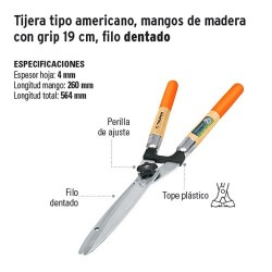 Tijera para Poda Tipo Americano Mangos de Madera con Grip 19 cm Filo Dentado TRUPER