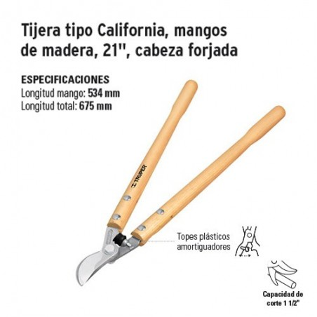 """Tijera Tipo California Mangos de Madera de 21"""" Cabeza Forjada TRUPER"""