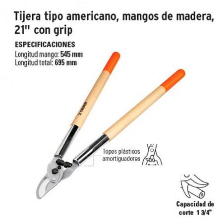 "Tijera Tipo Americano Mangos de Madera de 21"" con Grip TRUPER"