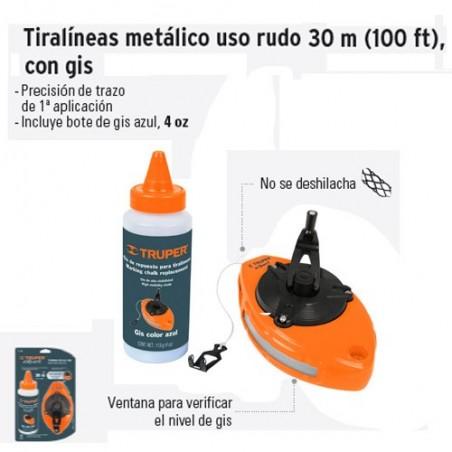 Tiralineas Metálico Uso Rudo 30 m con Gis TRUPER