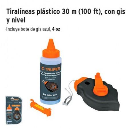 Tiralíneas Plástico 30 m con Gis y Nivel TRUPER