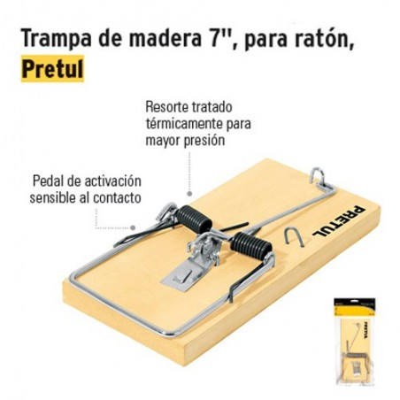 "Trampa de Madera 7"" para Ratón PRETUL"