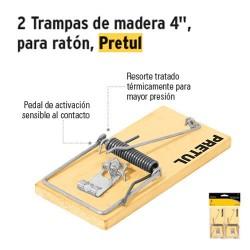 "Trampas de Madera 4"" para Ratón PRETUL"