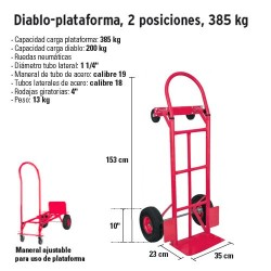 Diablo-plataforma 2 Posiciones 385 Kg FIERO