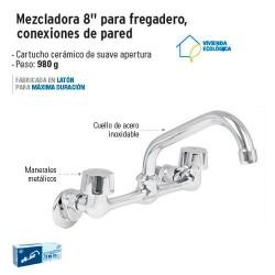 """Mezcladora 8"""" para Fregadero Conexiones de Pared FOSET"""
