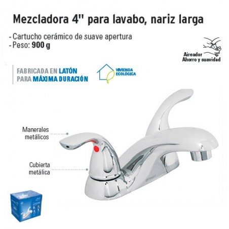 "Mezcladora 4"" para Lavabo Nariz Larga FOSET"