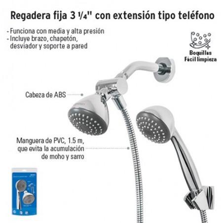 """Regadera Fija 3 1/4"""" con Extensión Tipo Teléfono FOSET"""