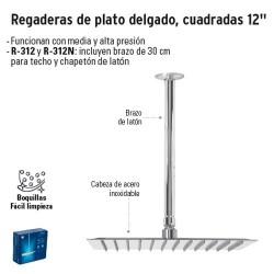 """Regaderas de Plato Delgado Cuadradas 12"""" FOSET"""